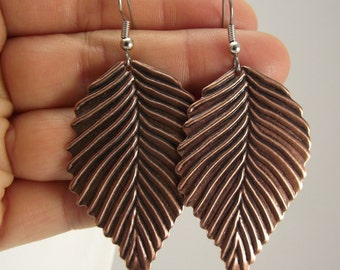 Antiqued Copper Leaf Earrings, Copper Earrings, Gift under 20, Woodland Jewelry, Fall jewelry fashion