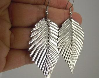 Shiny Silver Leaf Earrings, Silver Earrings