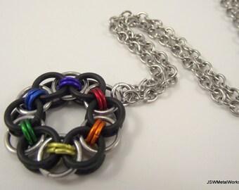 Rainbow Chainmail Pendant, Aluminum Necklace, Rubber Pendant