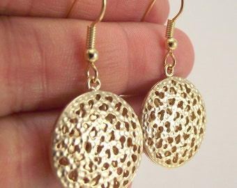 Medium Ornate Gold Medallion Earrings, Gold Earrings, Round Earring, Unique, Bold Jewelry, Gift for her, Gift under 25