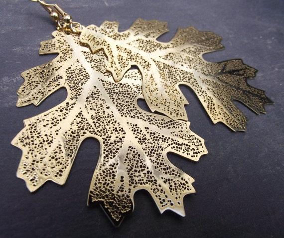 Large Golden Oak Leaf Skeleton Earrings, Gold Earrings, Woodland Jewelry