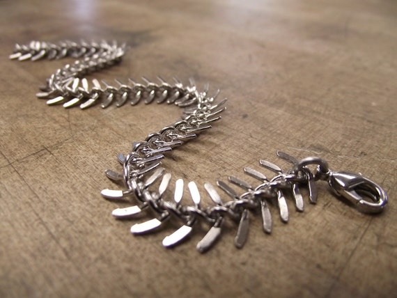 Fishbone Bracelet, Unique Silver Bracelet, Skeleton, Spine