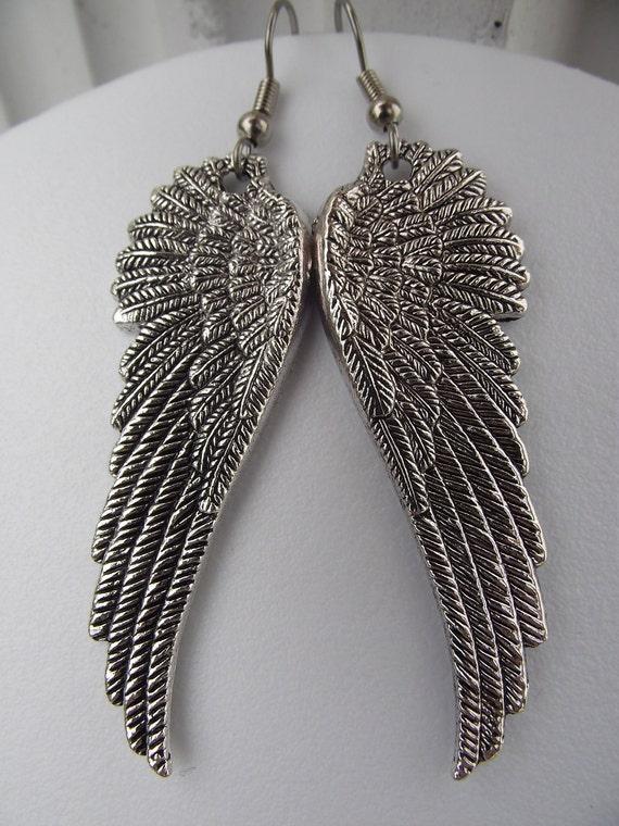 Large Ornate Guardian Angel Wing Earrings Silver Earrings