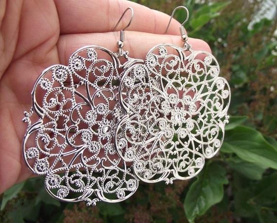 Large Silver Filigree Earrings, Silver Earrings
