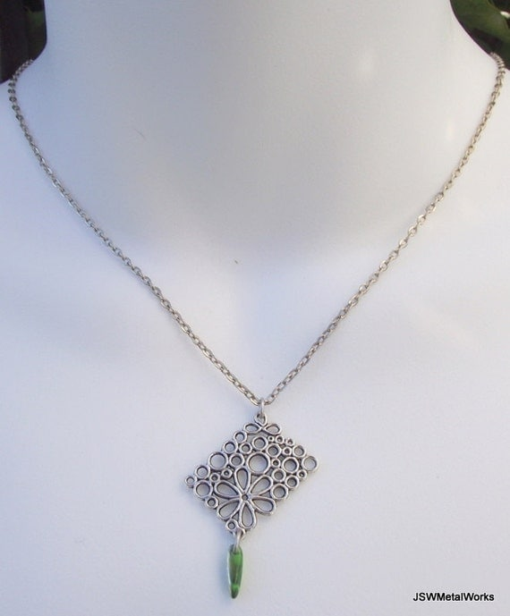 Geometric Antiqued Silver Flower Pendant with Green Czech Glass Dagger Bead, Silver Necklace
