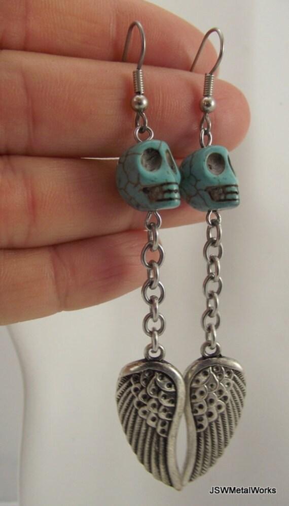 Skull and Wing Earrings, Turquoise Skulls Earrings, Silver Earrings