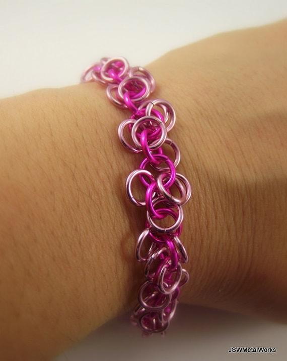 Shades of Pink Shag Bracelet, Aluminum Chainmail Bracelet, Aluminum Bracelet