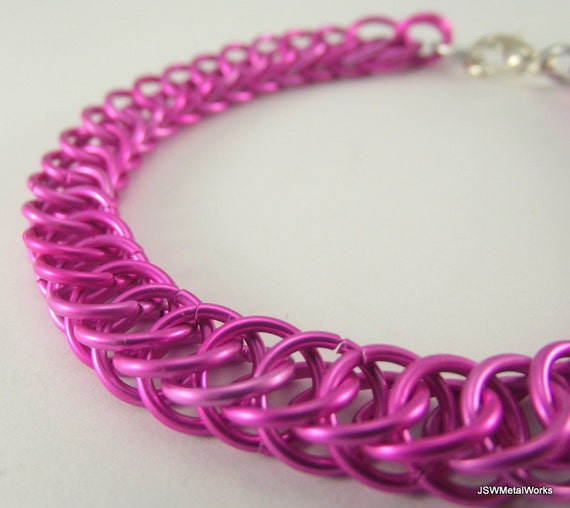 Pink Half Persian Chainmaille Bracelet,  Aluminum Bracelet, Chainmail Bracelet