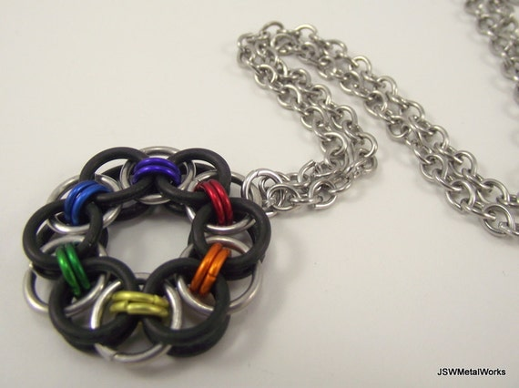 Rainbow Chainmail Pendant, Aluminum Necklace, Rubber Pendant