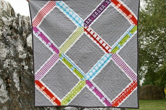 a tufted tweets modern lattice quilt