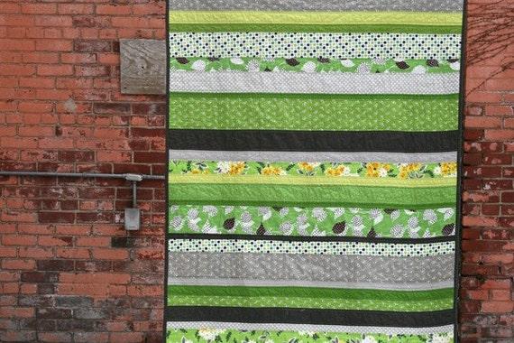 Signs of Spring - a Flea Market Fancy strip quilt in green