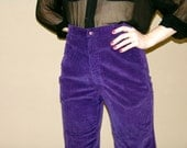 Vintage  High-Rise Purple Corduroy Pants