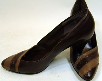 Vintage Chocolate JOYCE Genuine Leather High Heels