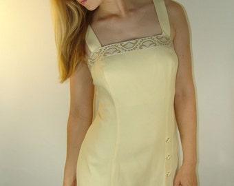 Vintage Pastel Yellow Dress