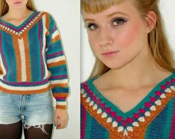 Vintage V-neck Stripy Sweater