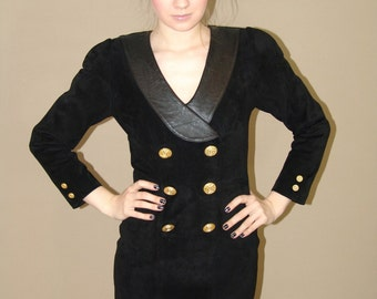 Vintage 80s Black Suede  Dress With Gold Buttons