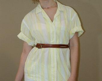 Vintage Stripy Short Sleeve Button Front Shirt