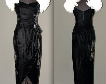 Vintage Black  Velvet  Long Dress