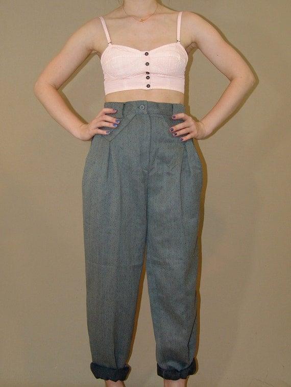 Vintage 80s  Wool High Waist Pants Never Worn
