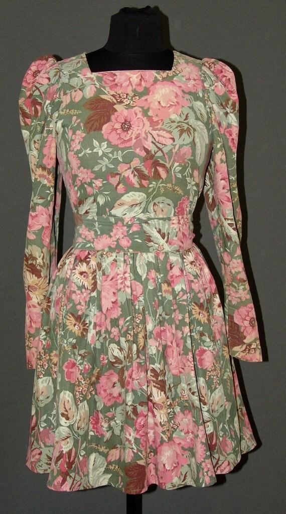 Vintage Corduroy Floral Laura Ashley Dress
