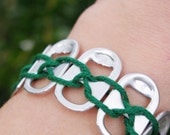 Dark Green Braided String Pop Top Bracelet