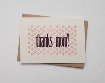 Thanks Mom - 4bar Letterpress Mother's Day Card