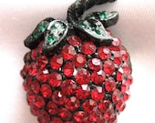 Signed Weiss rhinestone strawberry brooch