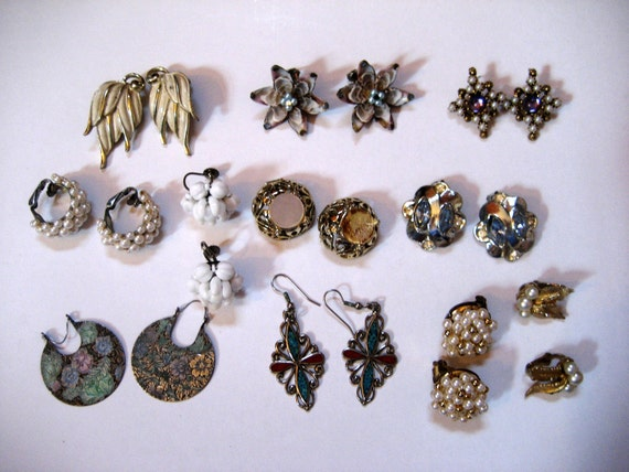 CLOSING SALE Vintage clip back, pierced earring destash lot supplies Emmons Germany