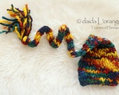 OOAK Newborn Long-Tail Elf Hat - Blue Green Red Yellow - Autumn Collection