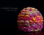 New Design - OOAK Newborn Ruffle Waves Beanie Hat - Fuchsia Lilac Gold - Spring Collection