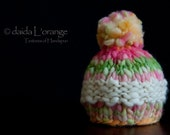 OOAK Newborn Middle-Stripe Beanie Hat with Pom Pom - Spring Rose Ivory - Spring Collection