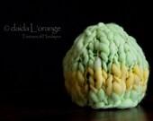 OOAK Newborn Chunky One-Stripe Beanie Hat - Keylime Lemon Chiffon - Spring Collection