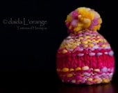 OOAK Newborn Middle-Stripe Beanie Hat with Pom Pom - Fuchsia Lilac Gold with Rose - Spring Collection