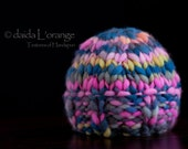 OOAK Newborn Wide Ribbed Edge Reversible Beanie Hat - Electric Sunset - Bright and Bold Collection