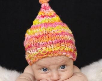 OOAK Original Newborn Sagey Hat - Red Orange Yellow - Summer Collection