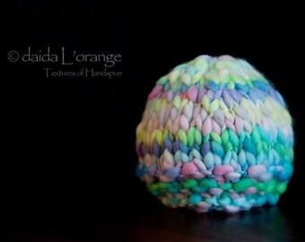 OOAK Newborn Textured Beanie Hat - Pastel Art - Spring Collection