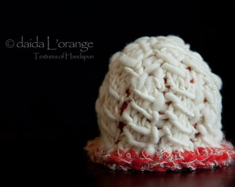 New Design - OOAK Newborn Open Weave Cloche Hat - Ivory Coral - Spring Collection