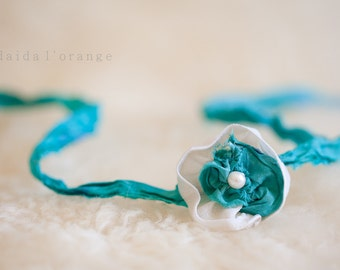 Athena - Newborn Halo Headband - Ivory Turquoise - Photography Prop - Winter Collection