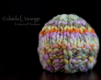 OOAK Newborn Wide Ribbed Edge Reversible Beanie Hat - Olives and Pumpkin Roses - Spring Collection