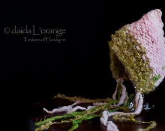 OOAK Newborn Daida Luxe Reversible Pixie Bonnet Hat - Moss Pink - Spring Collection