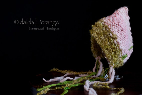SALE - OOAK Newborn Daida Luxe Reversible Pixie Bonnet Hat - Moss Pink - Spring Collection