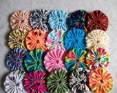 20 Handmade 2 inch Yo Yos YoYo Pieces Embellishments Suffolks Puffs Rosettes Accessories Quilt Block Scrapbooking Applique