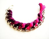Braided Chain Bracelet / Woven Silver Chain / Hot Pink and Purple Ombre Thread / Braid Friendship Jewelry