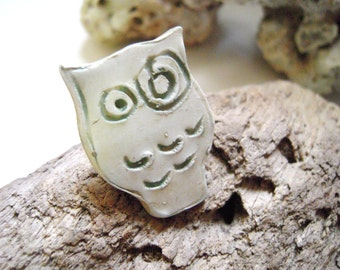 ON SALE - Owl Ring Statement Ring Adjustable Big Oversized Bold Owl Nature Ring Polymer Clay White Tan