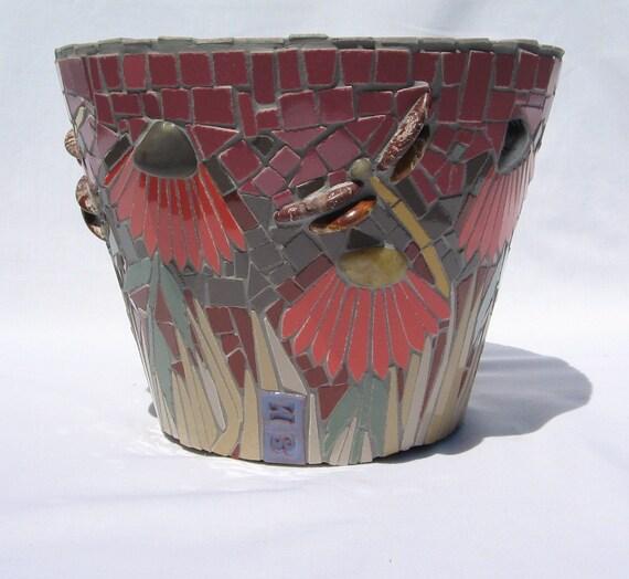 Mosaic Dragonfly Flower Pot
