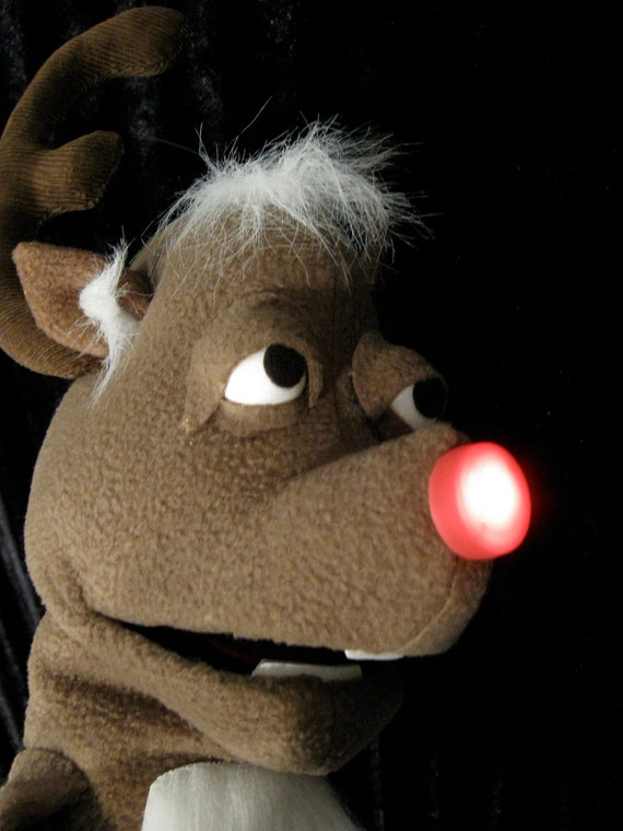 Randolph the Reindeer hand puppet with light up nose