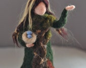 Needle felted Waldorf Forest Maiden-standing doll-soft sculpture--needle felt by Daria LvovskyMade to custom order