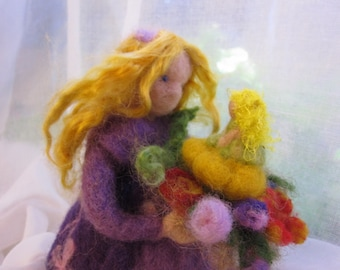 Needle felted Waldorf  Doll. Flowers Queen Waldorf wool doll. Made for custom order