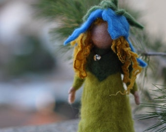 Needle felted Waldorf Bell-flower child- soft sculpture - -needle felt by Daria LvovskyMade to custom order.