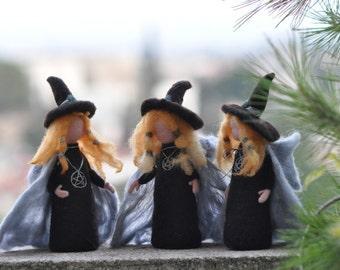 Needle Felted Doll Waldorf -Halloween Decoration--Wool Sculpture-Halloween witch art dolls-needle felt by Daria Lvovsky